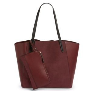 BP Colorblock Faux Leather Tote Burgundy